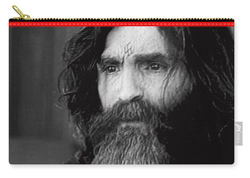Charles Manson Screen Capture Circa 1970 Carry-all Pouch featuring the photograph Charles Manson Screen Capture Circa 1970-2015 by David Lee Guss