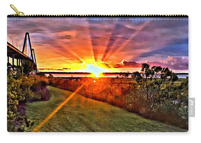 Carry-all Pouch featuring the digital art Charleston Sunset by Southern Flavor