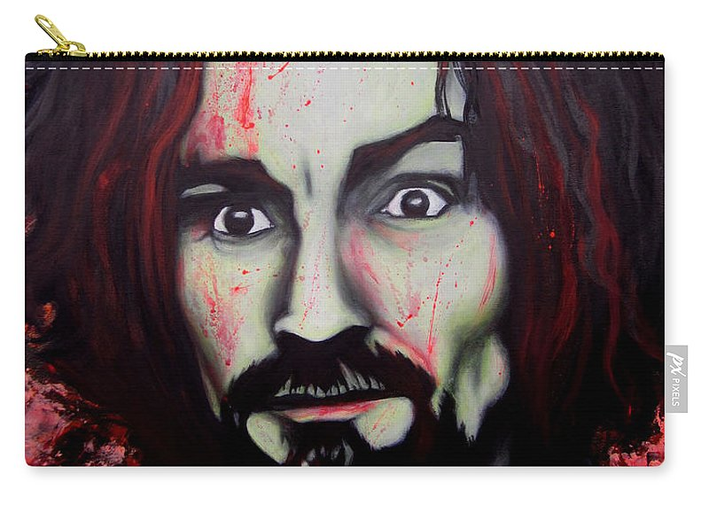 Serial Killer Carry-all Pouch featuring the painting Charlie Manson by Justin Coffman