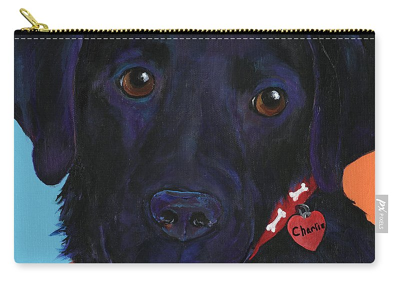 Dog Art Carry-all Pouch featuring the painting Charlie by Pat Saunders-White