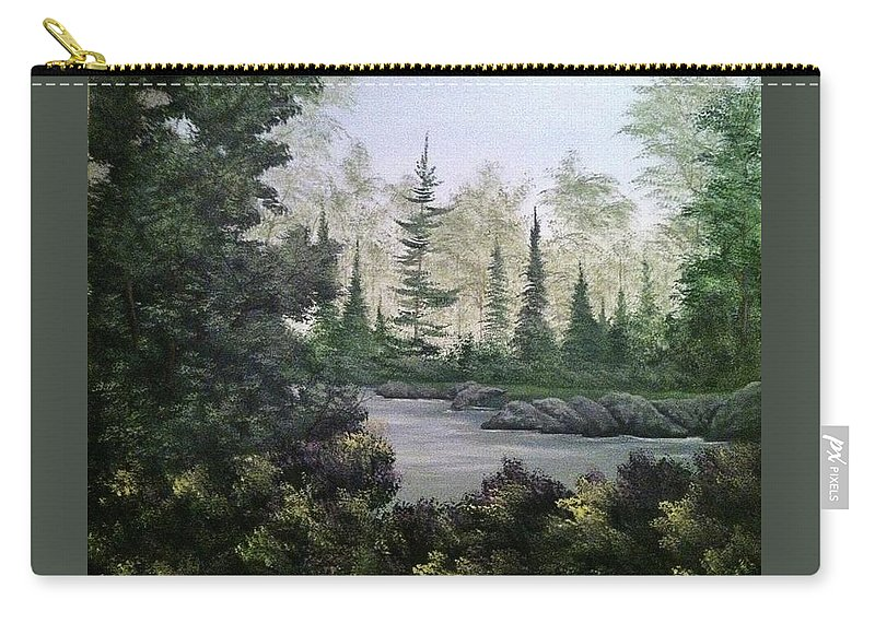 Landscape Carry-all Pouch featuring the painting Charlie's Tree by Glen Mcclements