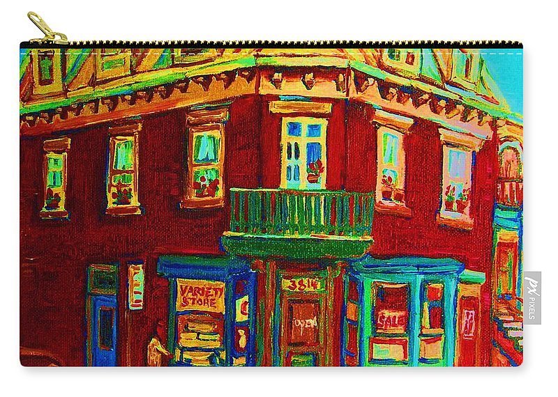 Plateau Montreal Charming Corner Stores Street Scenes Carry-all Pouch featuring the painting Charming Store On The Corner by Carole Spandau