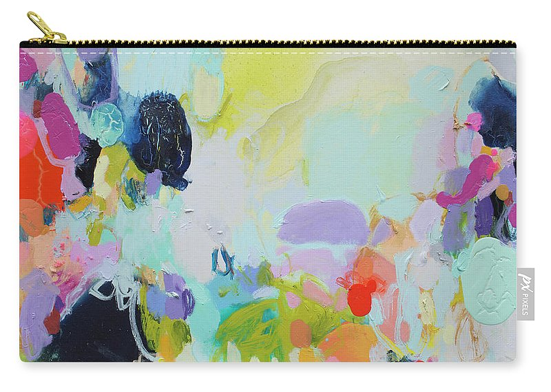 Abstract Carry-all Pouch featuring the painting Chartreuse Stop by Claire Desjardins