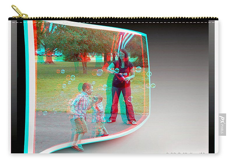 3d Carry-all Pouch featuring the photograph Chasing Bubbles - Use Red-cyan 3d Glasses by Brian Wallace