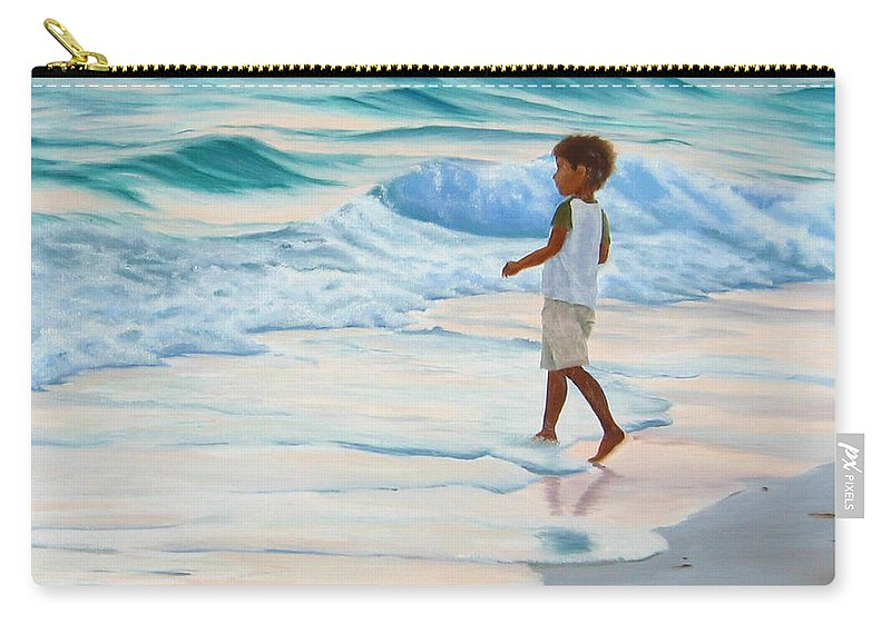 Child Carry-all Pouch featuring the painting Chasing The Waves by Lea Novak