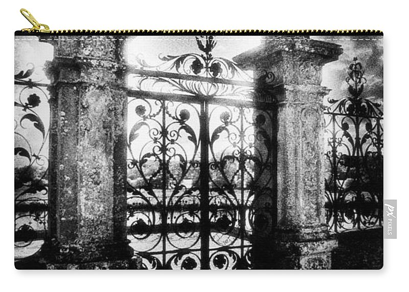 Gate; Wrought Iron; Posts; Pillars; Entrance; Portal; Grand; Grandiose; French; Metalwork; Ornate; Atmospheric; Spooky; Eerie; Fairytale; Moonlit; Moonlight; Dramatic; Portal; Castle; Renaissance; Baroque Carry-all Pouch featuring the photograph Chateau De Carrouges by Simon Marsden