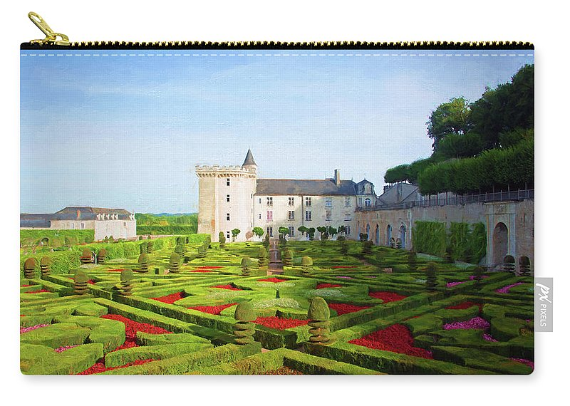 Chateau De Villandry Carry-all Pouch featuring the photograph Chateau De Villandry, Loire, France by Curt Rush