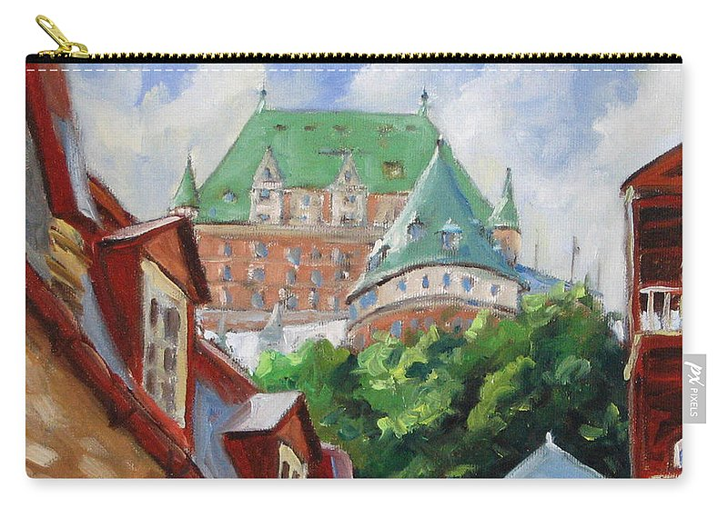 Chateau Frontenac Carry-all Pouch featuring the painting Chateau Frontenac by Richard T Pranke