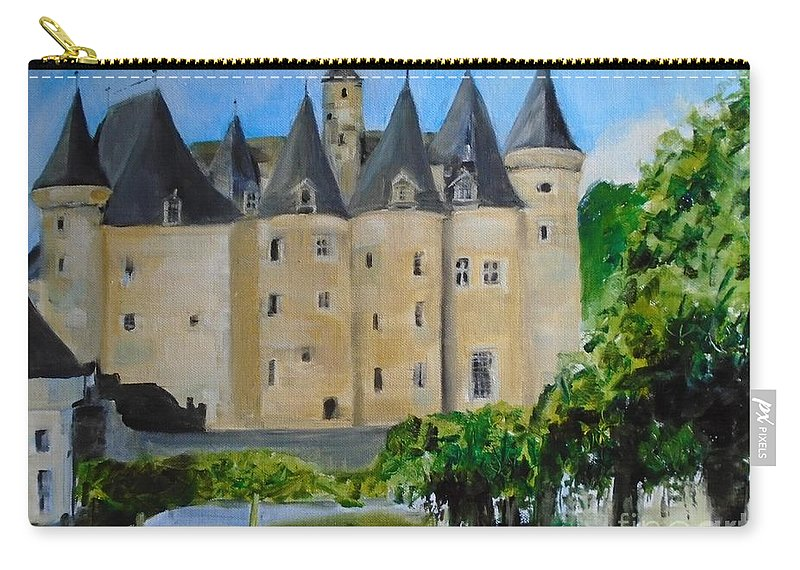 French Carry-all Pouch featuring the painting Chateau Jumilhac, France by Angela Cartner