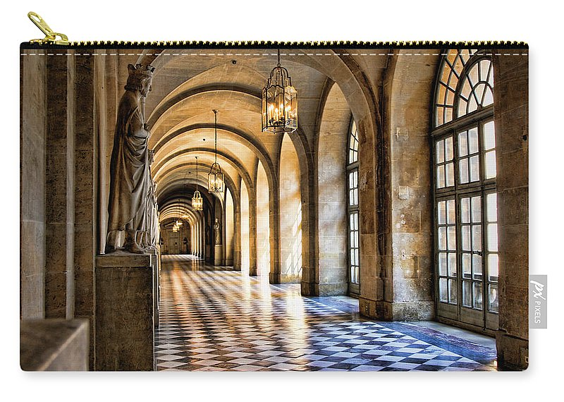 France Carry-all Pouch featuring the photograph Chateau Versailles Interior Hallway Architecture by Chuck Kuhn