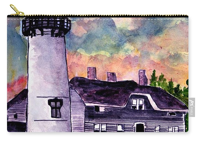 Lighthouse Carry-all Pouch featuring the painting Chatham Lighthouse Martha's Vineyard Massachuestts Cape Cod Art by Derek Mccrea