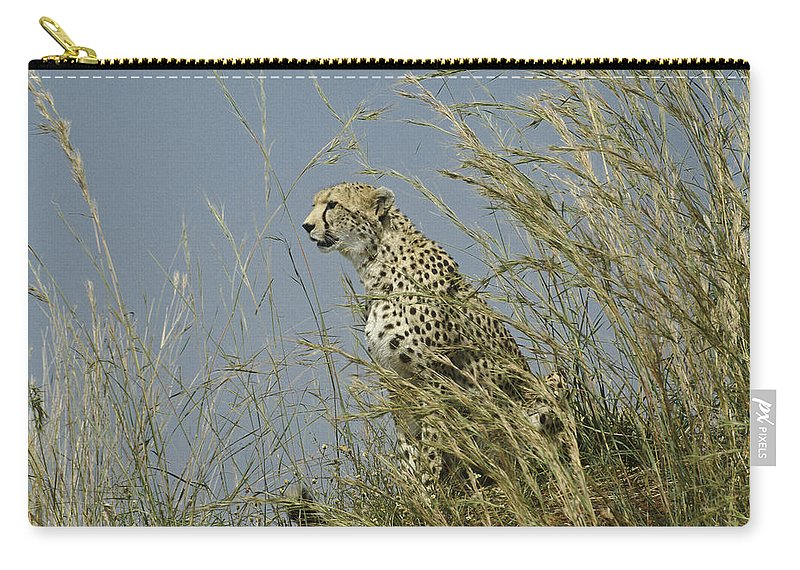 Africa Carry-all Pouch featuring the photograph Cheetah Lookout by Michele Burgess