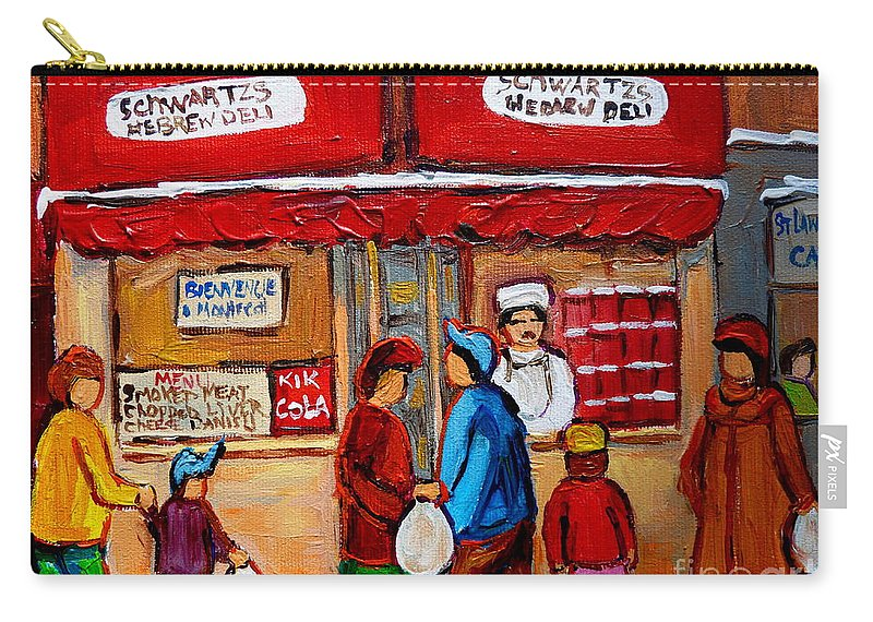 Schwartzs Hebrew Deli Carry-all Pouch featuring the painting Chef In The Window by Carole Spandau