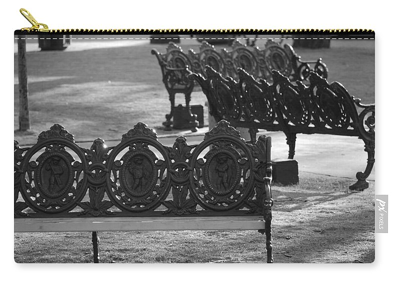 Black And White Carry-all Pouch featuring the photograph Cherb Benches by Rob Hans