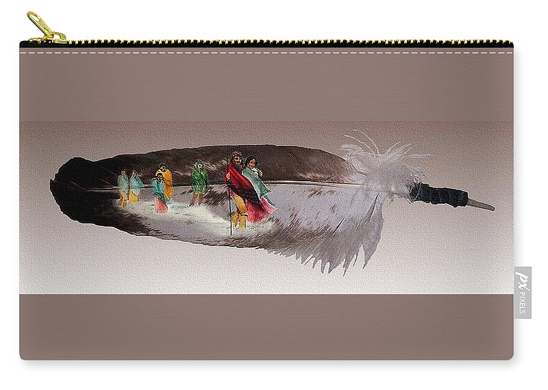 Cherokee Carry-all Pouch featuring the mixed media Cherokee By Blood by John Guthrie