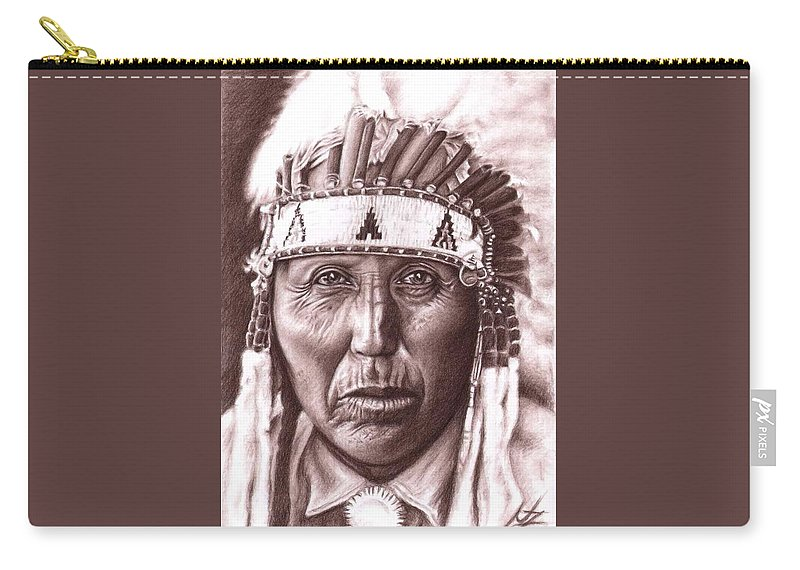 Indian Carry-all Pouch featuring the drawing Cherokee by Nicole Zeug