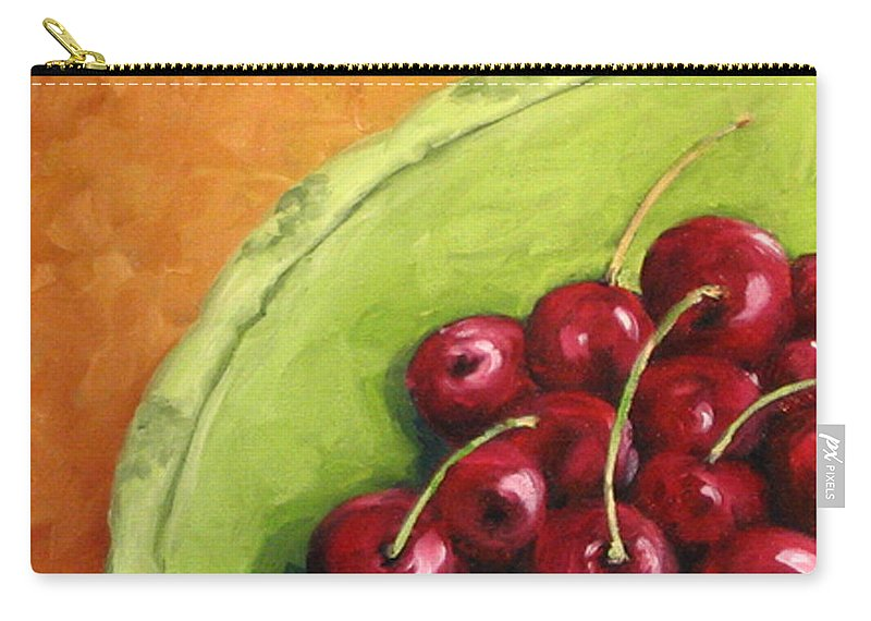 Art Carry-all Pouch featuring the painting Cherries Green Plate by Richard T Pranke