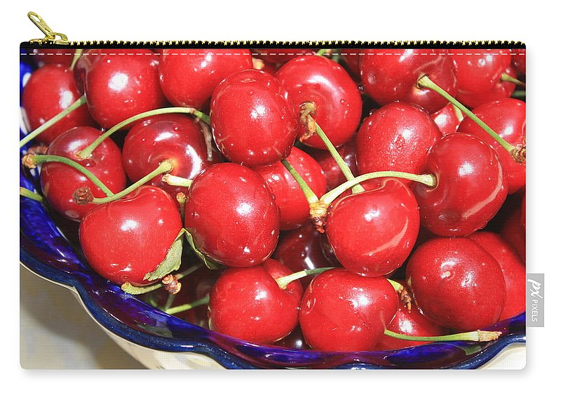 Food Carry-all Pouch featuring the photograph Cherries In A Bowl Close-up by Carol Groenen