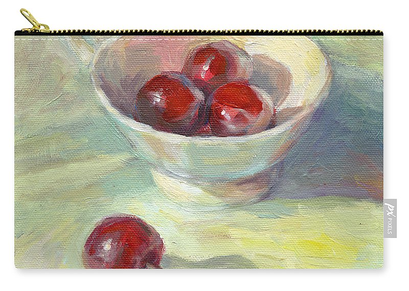 Cherry Painting Carry-all Pouch featuring the painting Cherries In A Cup On A Sunny Day Painting by Svetlana Novikova