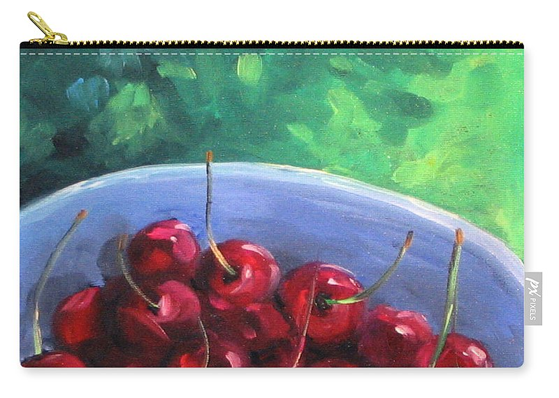 Art Carry-all Pouch featuring the painting Cherries On A Blue Plate by Richard T Pranke