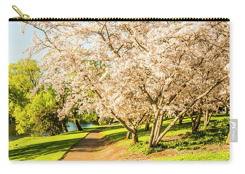 Green Carry-all Pouch featuring the photograph Cherry Blossom Lane by Jorgo Photography - Wall Art Gallery
