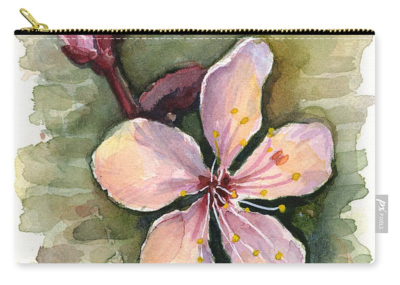 Flower Carry-all Pouch featuring the painting Cherry Blossom Watercolor by Olga Shvartsur