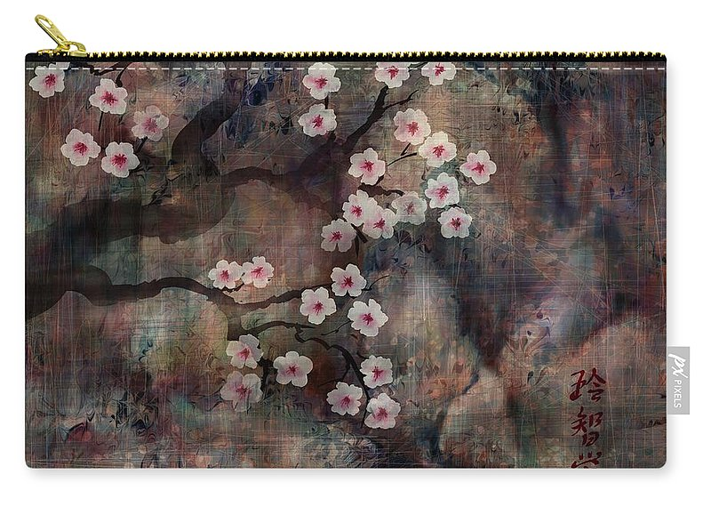 Landscape Carry-all Pouch featuring the digital art Cherry Blossoms by William Russell Nowicki