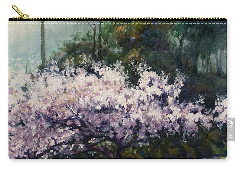 Trees Carry-all Pouch featuring the painting Cherry Blossoms by Rick Nederlof