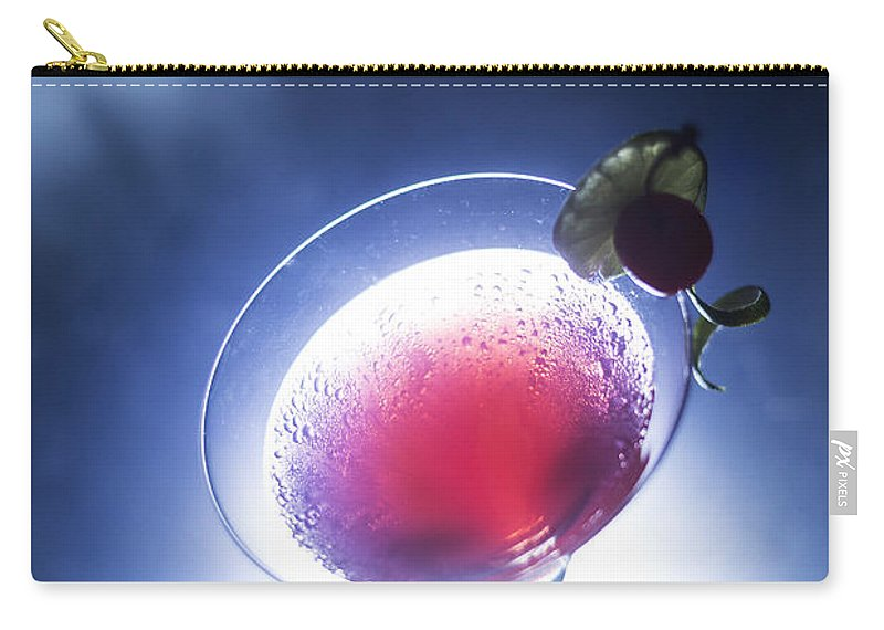 Alcohol Carry-all Pouch featuring the photograph Cherry Martini Cocktail Drink At Night by Jacek Malipan