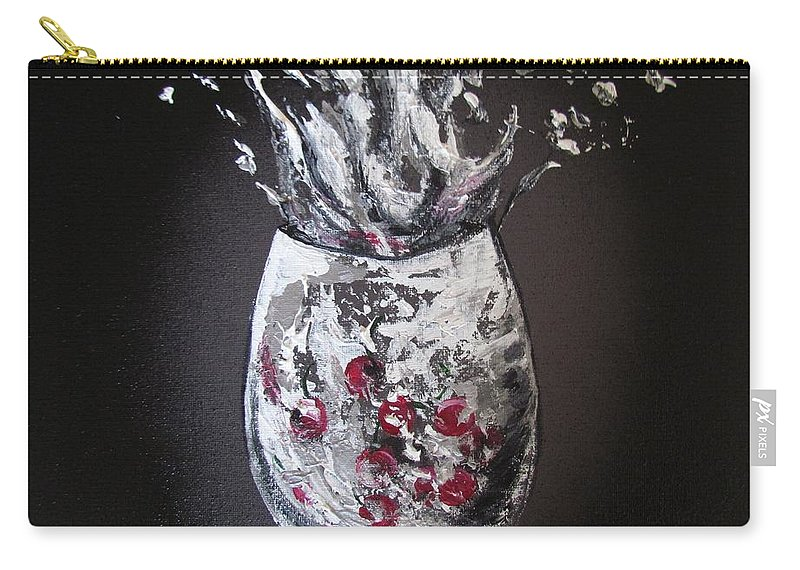Wine Glass Carry-all Pouch featuring the painting Cherry Splash by Mandy Joy