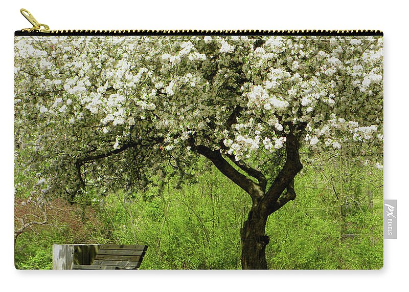 Cherry Tree Carry-all Pouch featuring the photograph Cherry Tree In Full Bloom by Sandi OReilly