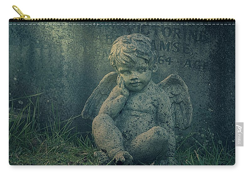 Anglican Carry-all Pouch featuring the photograph Cherub Lost In Thoughts by Monika Tymanowska