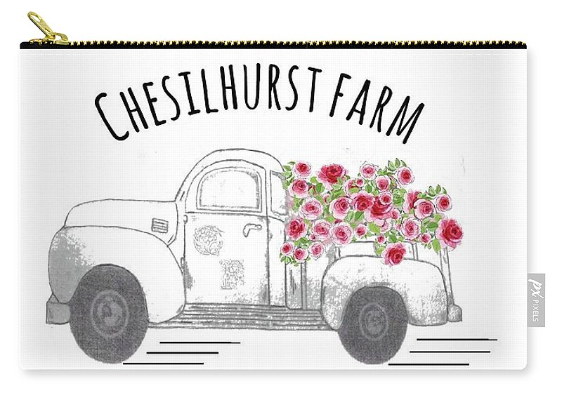 Chesilhurst Farm Carry-all Pouch featuring the drawing Chesilhurst Farm by Kim Kent