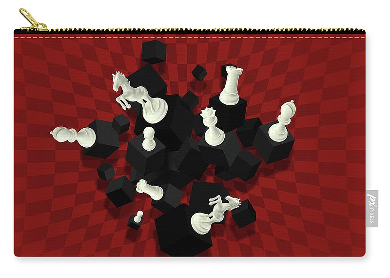 Bishop Carry-all Pouch featuring the digital art Chessboard And 3d Chess Pieces Composition On Red by Creativemotions
