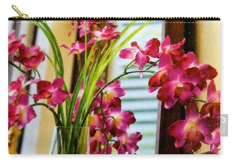 Flowers Carry-all Pouch featuring the photograph Chester House Flowers by Lord Frederick Lyle Morris - Disabled Veteran