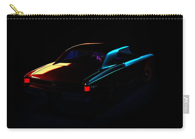 Car Carry-all Pouch featuring the digital art Chevrolet Chevelle 001 by Alex Rota