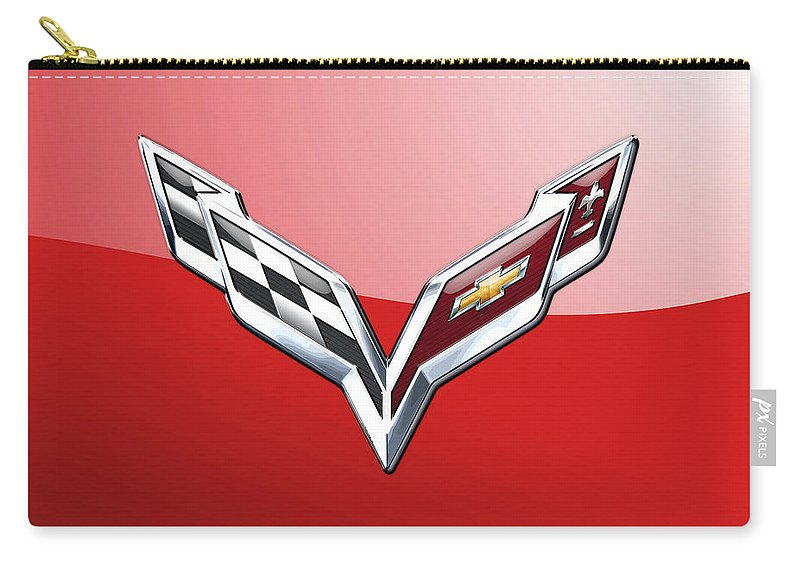 'wheels Of Fortune' Collection By Serge Averbukh Carry-all Pouch featuring the photograph Chevrolet Corvette - 3d Badge On Red by Serge Averbukh