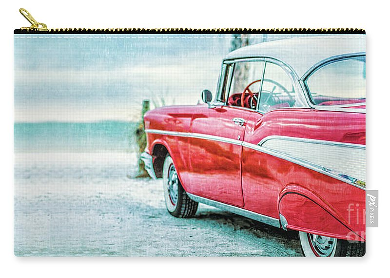 Mug Carry-all Pouch featuring the photograph Chevy Belair At The Beach Mug by Edward Fielding
