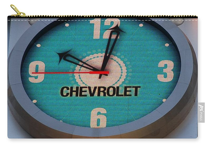 Clock Carry-all Pouch featuring the photograph Chevy Neon Clock by Rob Hans
