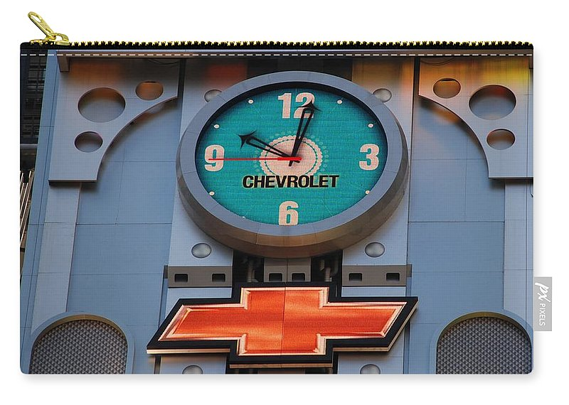 Clock Carry-all Pouch featuring the photograph Chevy Times Square Clock by Rob Hans