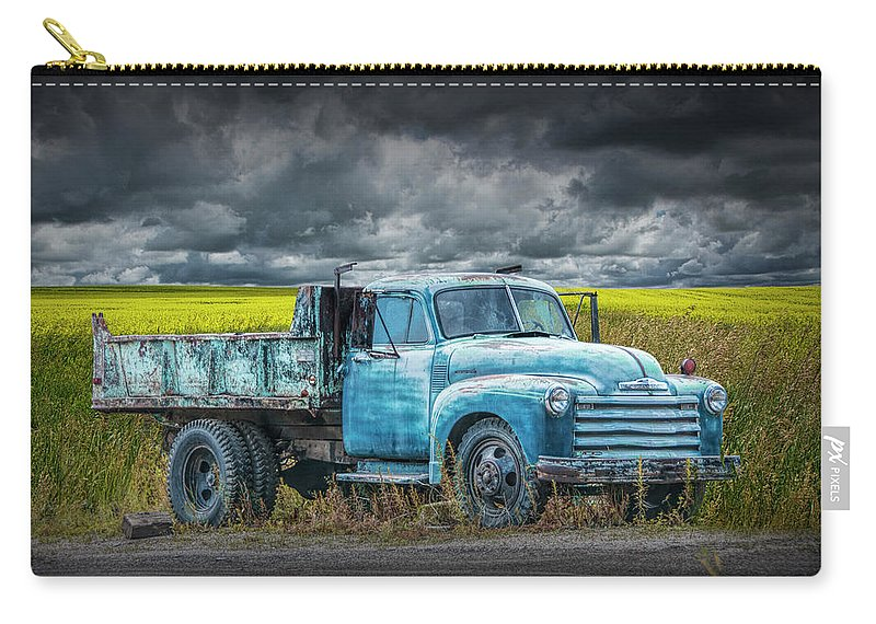 Truck Carry-all Pouch featuring the photograph Chevy Truck Stranded By The Side Of The Road by Randall Nyhof