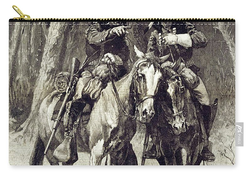 Scout Carry-all Pouch featuring the painting Cheyenne Scouts Patrolling The Big Timber Of The North Canadian, by Frederic Sackrider Remington