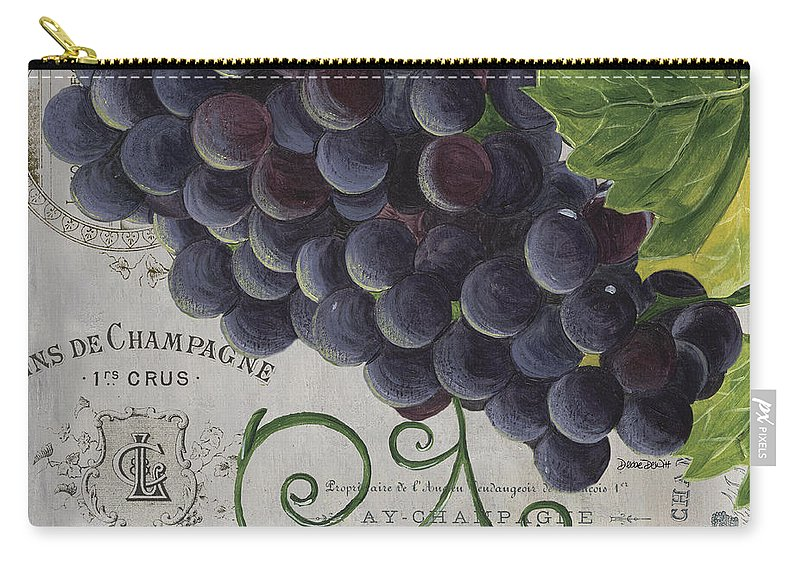 Grapes Carry-all Pouch featuring the painting Vins de Champagne 2 by Debbie DeWitt