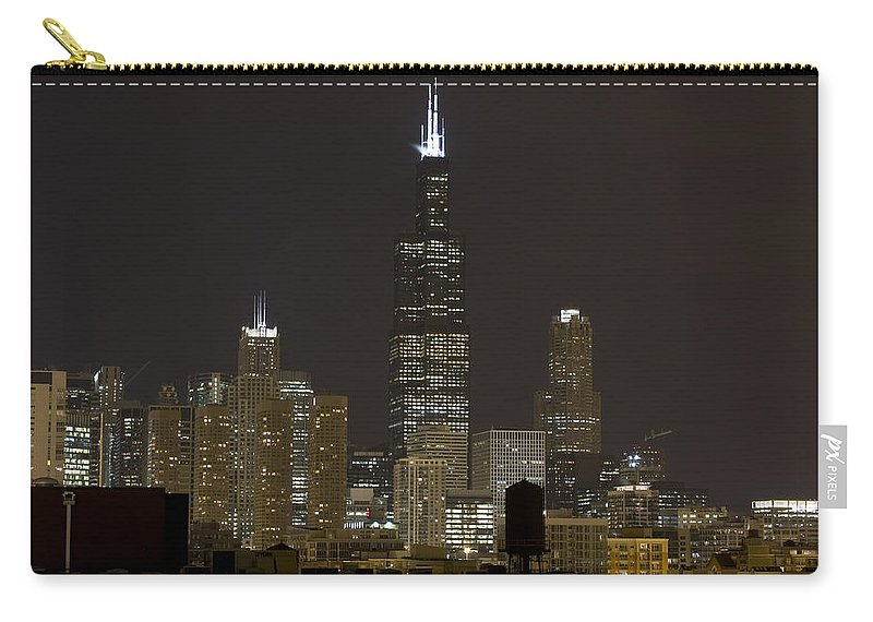 City Sky Skyline Wind Windy Windycity Il Chicago Night Dark Light Lights Street Building Tall House Carry-all Pouch featuring the photograph Chicago At Night I by Andrei Shliakhau