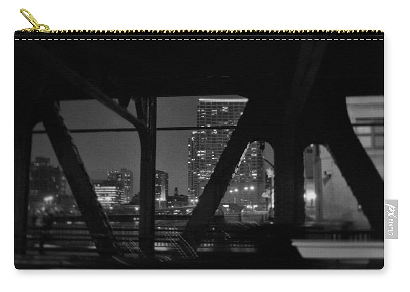 Chicago Carry-all Pouch featuring the photograph Chicago Bridge Night by Kyle Hanson