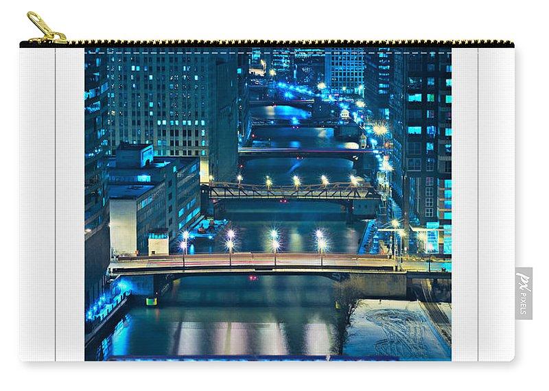 Bridge Carry-all Pouch featuring the photograph Chicago Bridges Poster by Steve Gadomski