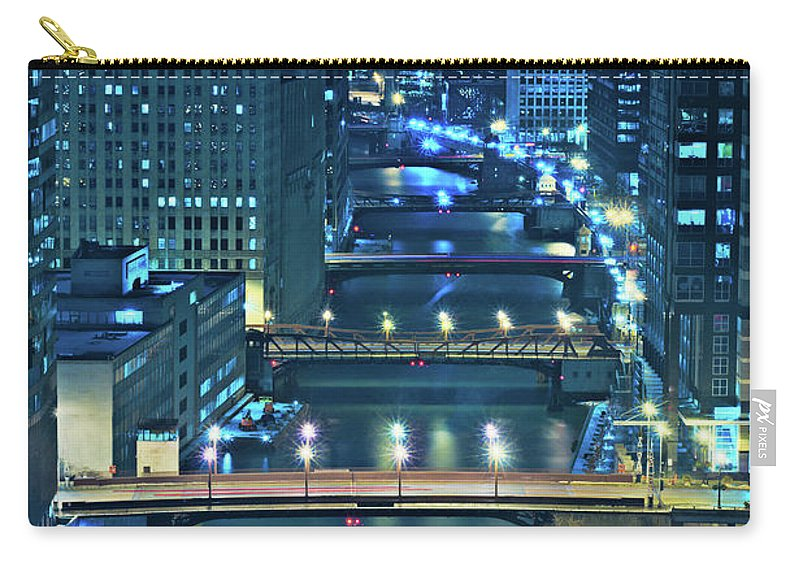 Chicago Carry-all Pouch featuring the photograph Chicago Bridges by Steve Gadomski