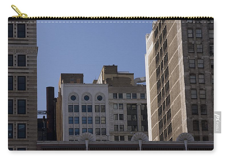 Chicago City Wind Windy Metro Urban Building Blue Sky Tall Big Windows Carry-all Pouch featuring the photograph Chicago Buildings by Andrei Shliakhau