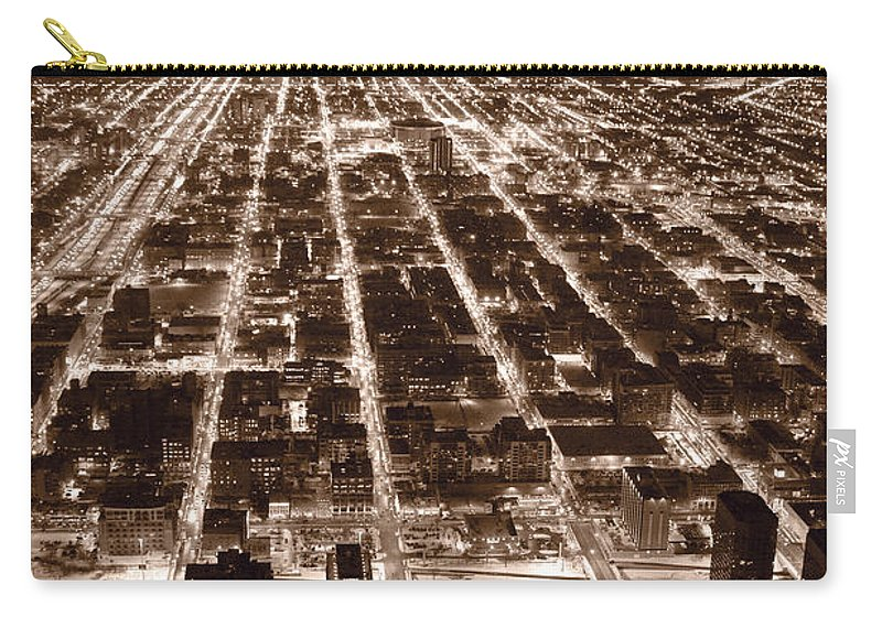 Aerial Carry-all Pouch featuring the photograph Chicago City Lights West B W by Steve Gadomski