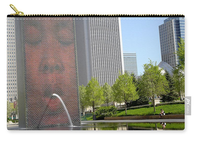Chicago Carry-all Pouch featuring the photograph Chicago Crown Fountain 8 by Jean Macaluso